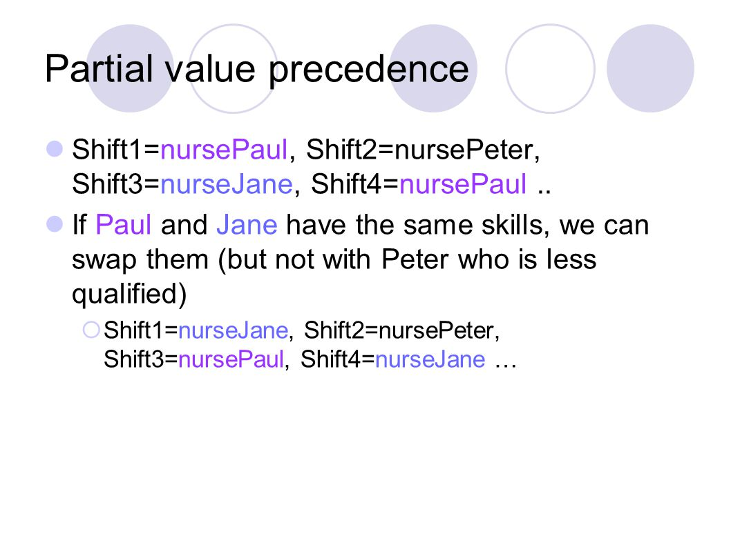 Partial value precedence Shift1=nursePaul, Shift2=nursePeter, Shift3=nurseJane, Shift4=nursePaul.. If Paul and Jane have the same skills, we can swap
