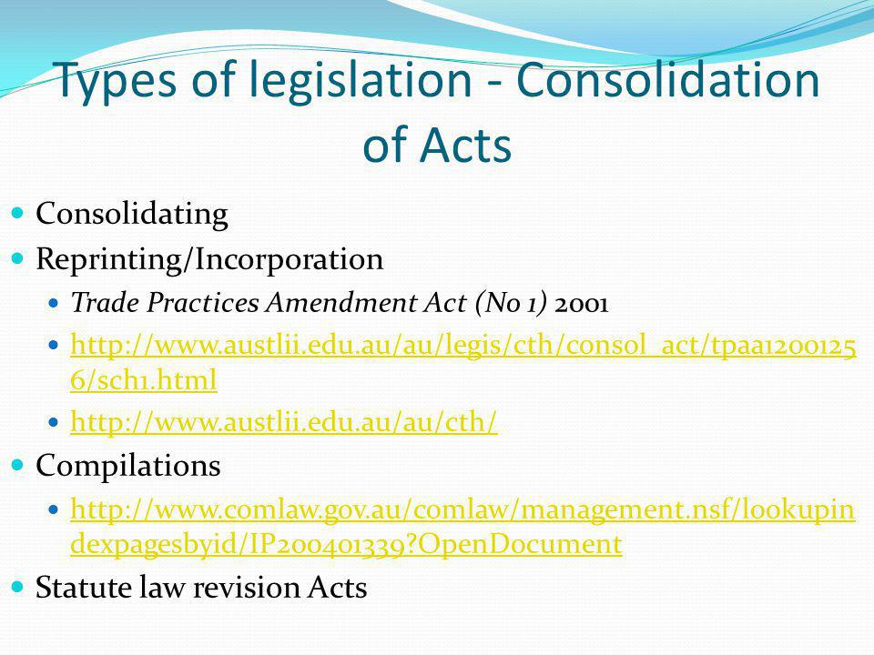 Types of legislation - Consolidation of Acts Consolidating Reprinting/Incorporation Trade Practices Amendment Act (No 1) 2001 http://www.austlii.edu.a