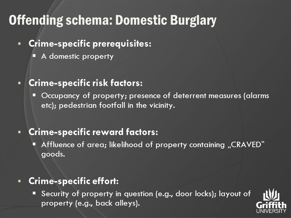Offending schema: Domestic Burglary  Crime-specific prerequisites:  A domestic property  Crime-specific risk factors:  Occupancy of property; pres