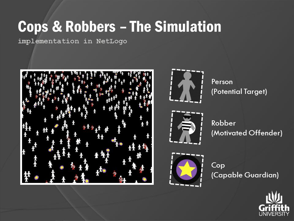Cops & Robbers – The Simulation implementation in NetLogo Person (Potential Target) Cop (Capable Guardian) Robber (Motivated Offender)