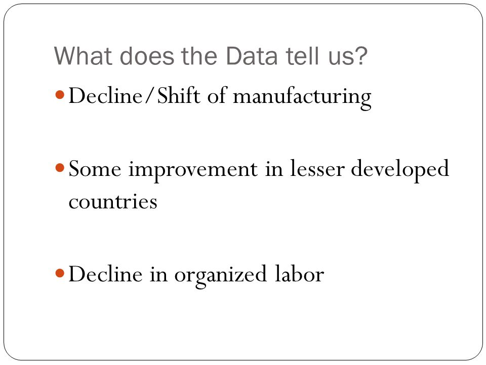 What does the Data tell us? Decline/Shift of manufacturing Some improvement in lesser developed countries Decline in organized labor