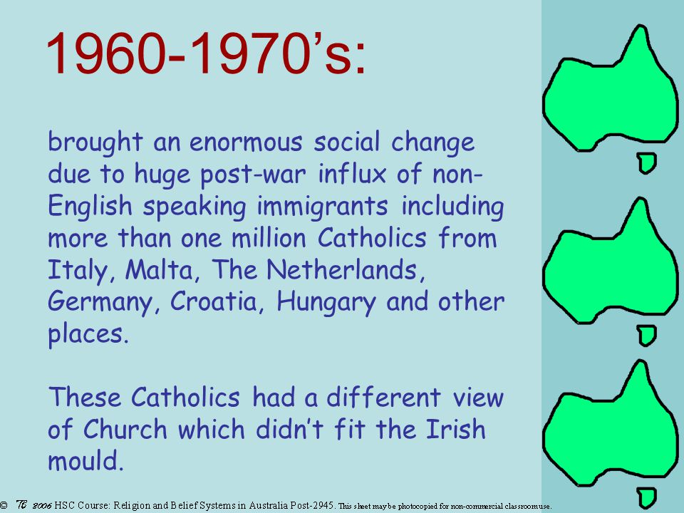 brought an enormous social change due to huge post-war influx of non- English speaking immigrants including more than one million Catholics from Italy, Malta, The Netherlands, Germany, Croatia, Hungary and other places.