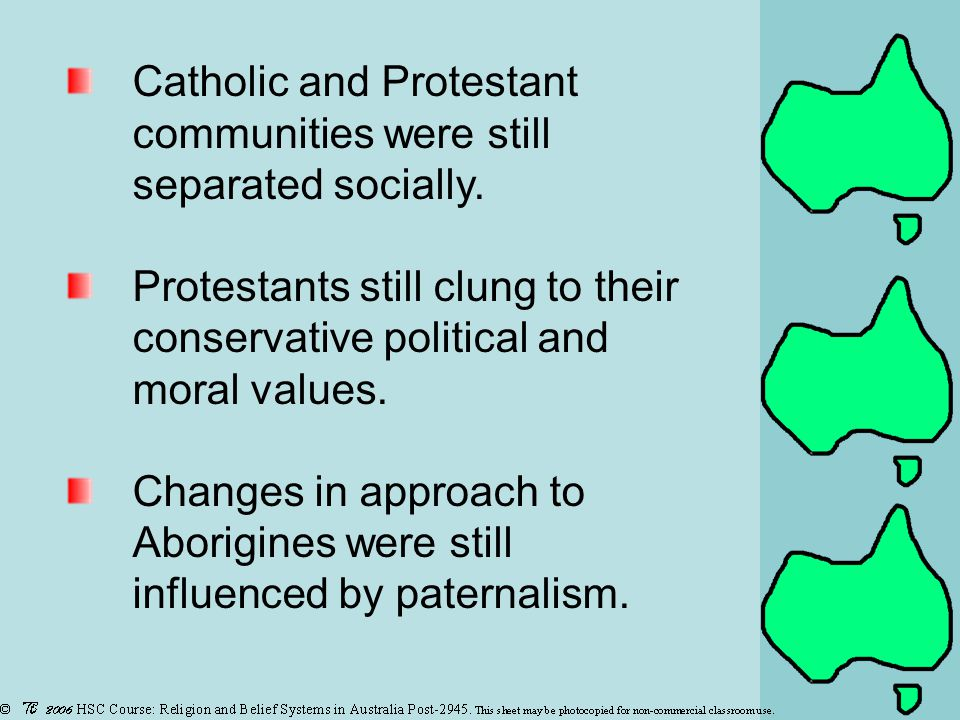 Catholic and Protestant communities were still separated socially.