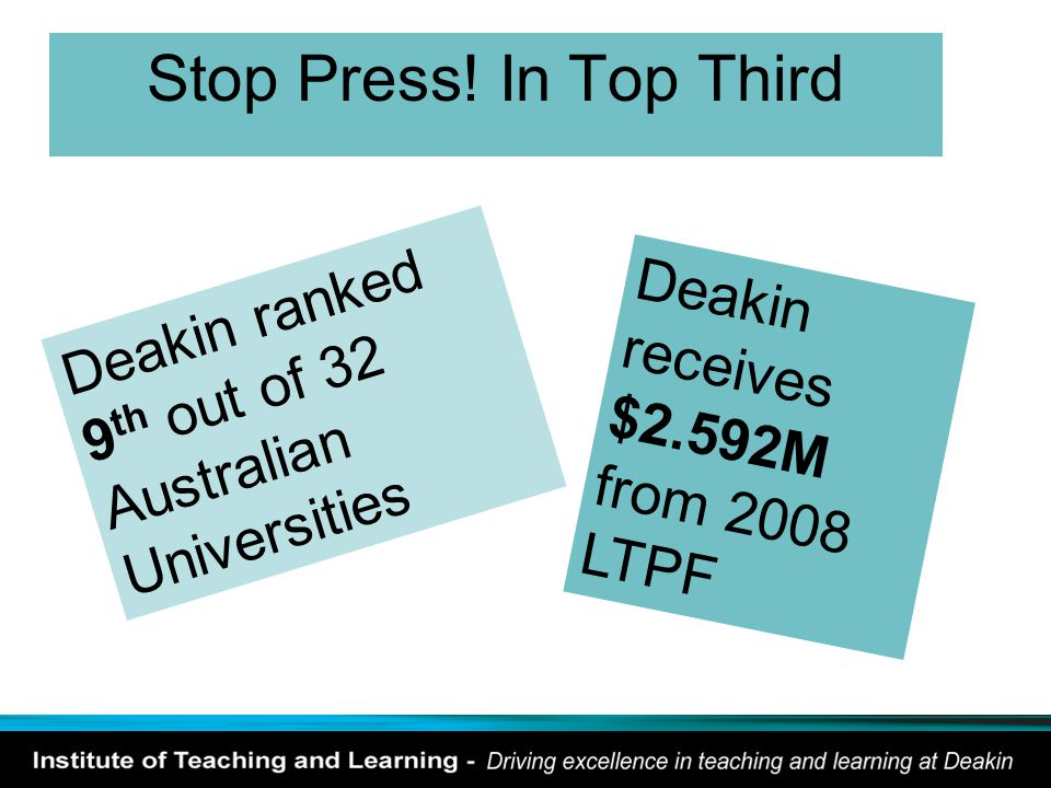 Stop Press! In Top Third Deakin ranked 9 th out of 32 Australian Universities Deakin receives $2.592M from 2008 LTPF