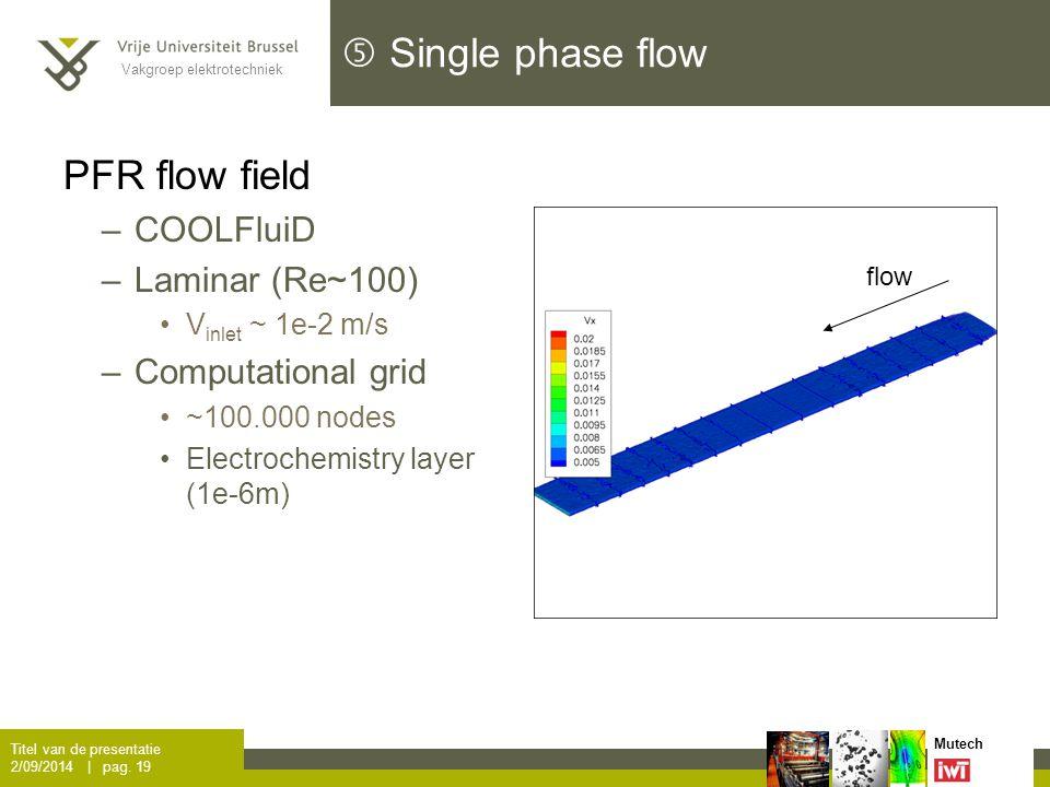 Vakgroep elektrotechniek Mutech  Single phase flow PFR flow field –COOLFluiD P Titel van de presentatie 2/09/2014 | pag.