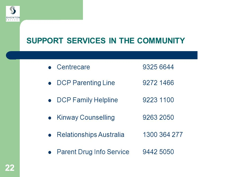 22 SUPPORT SERVICES IN THE COMMUNITY Centrecare9325 6644 DCP Parenting Line9272 1466 DCP Family Helpline9223 1100 Kinway Counselling9263 2050 Relationships Australia1300 364 277 Parent Drug Info Service 9442 5050