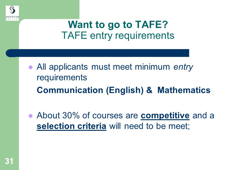 31 Want to go to TAFE.