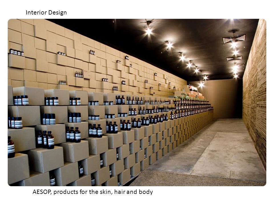AESOP, products for the skin, hair and body Interior Design