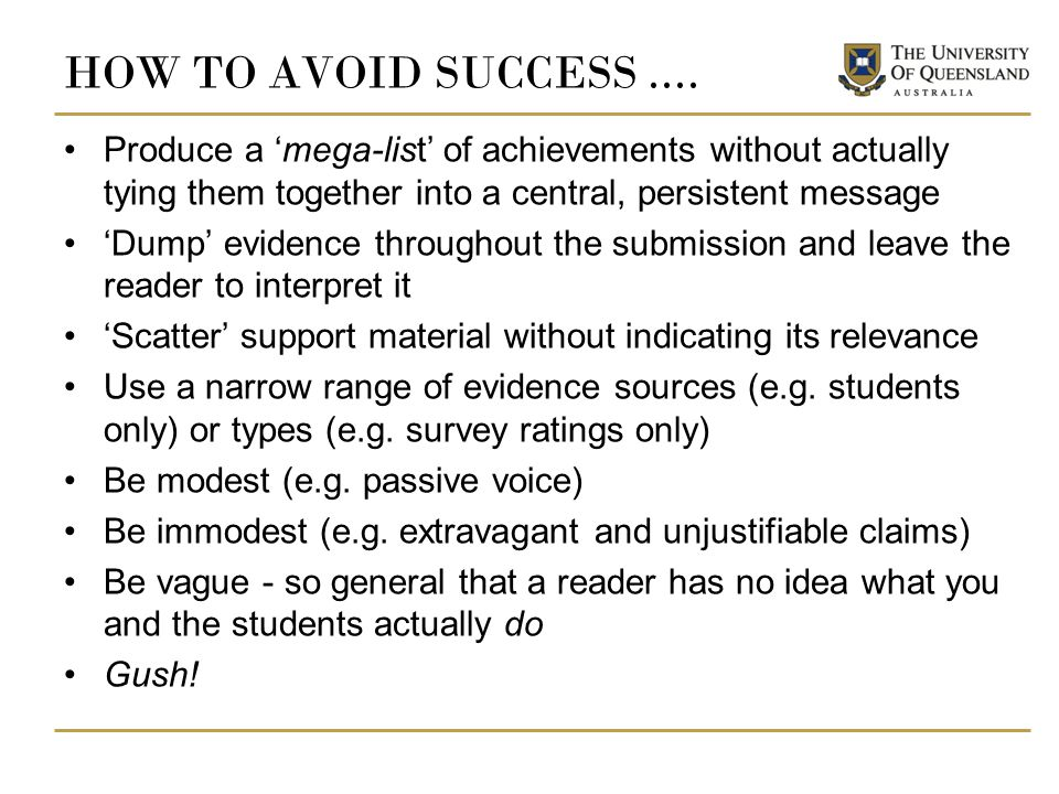 HOW TO AVOID SUCCESS....
