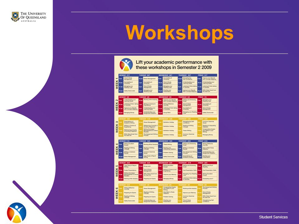 Student Services Workshops