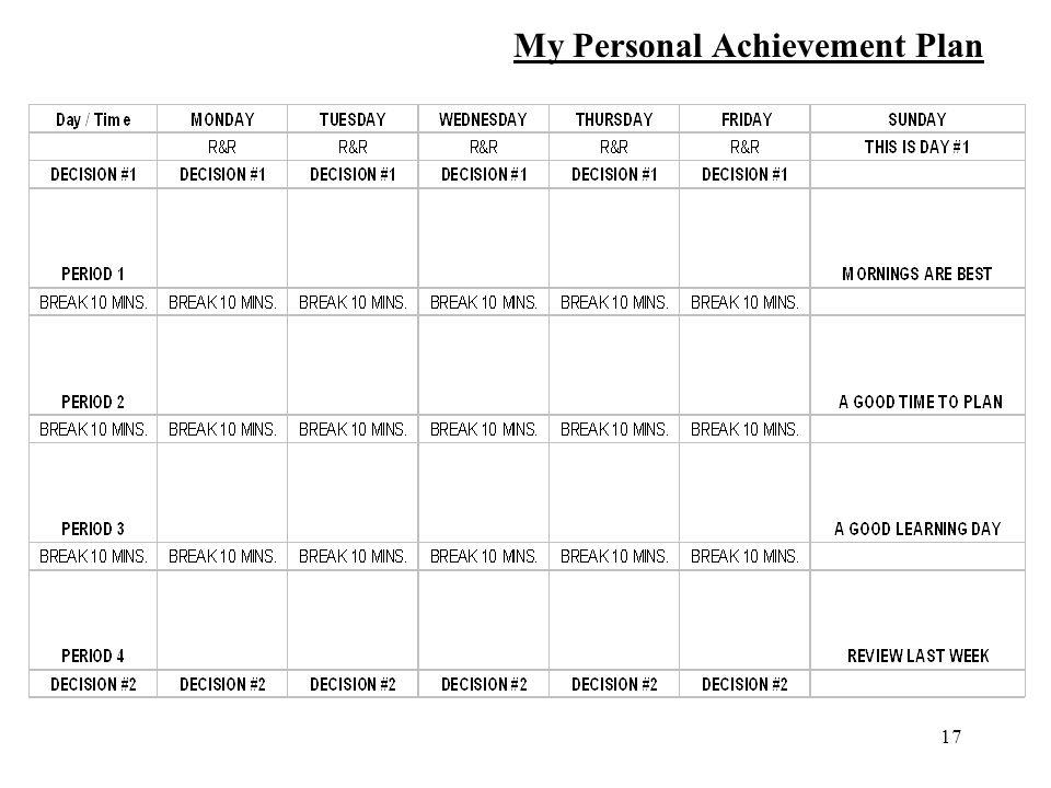 17 My Personal Achievement Plan