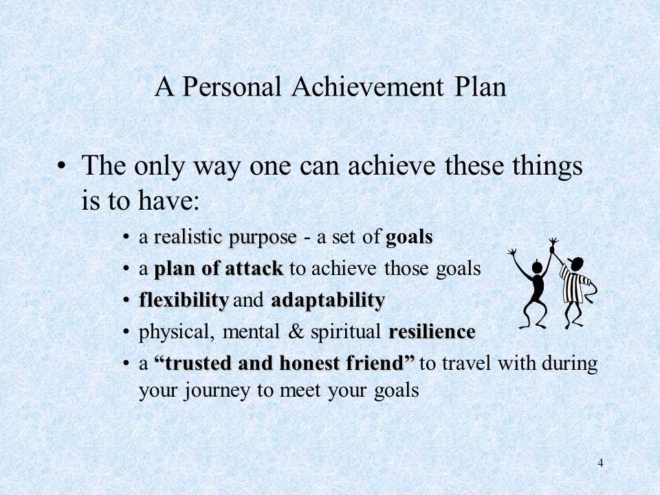 5 A Personal Achievement Plan PLAN If you make a PLAN, it usually is full of GUNNA'S.