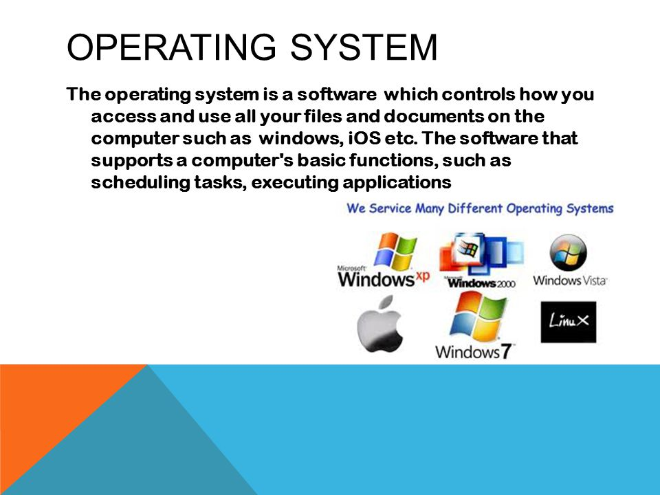 OPERATING SYSTEM The operating system is a software which controls how you access and use all your files and documents on the computer such as windows, iOS etc.