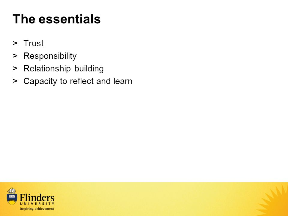 The essentials >Trust >Responsibility >Relationship building >Capacity to reflect and learn