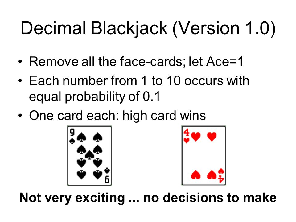 Score matrices for Decimal Blackjack 1.1 Player's drawing Markov matrix, D Score matrix Player expectations Dealer expectations Expected game value