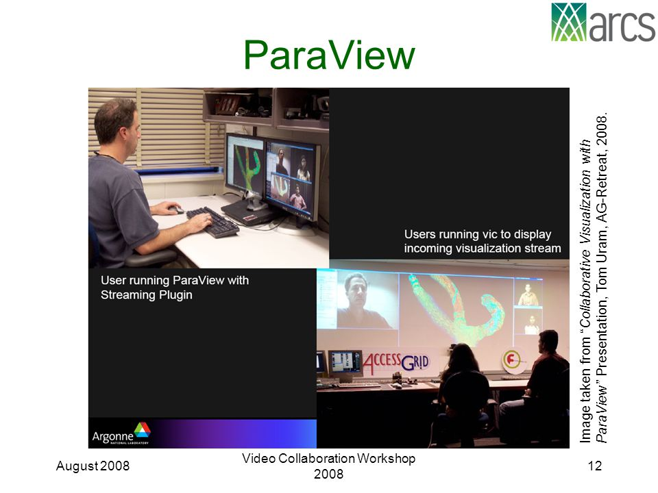 "ParaView August 2008 Video Collaboration Workshop 2008 12 Image taken from "" Collaborative Visualization with ParaView"" Presentation, Tom Uram, AG-Ret"