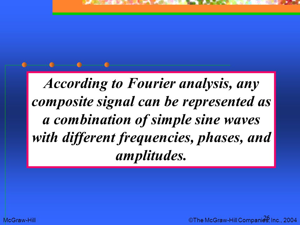 26 According to Fourier analysis, any composite signal can be represented as a combination of simple sine waves with different frequencies, phases, an
