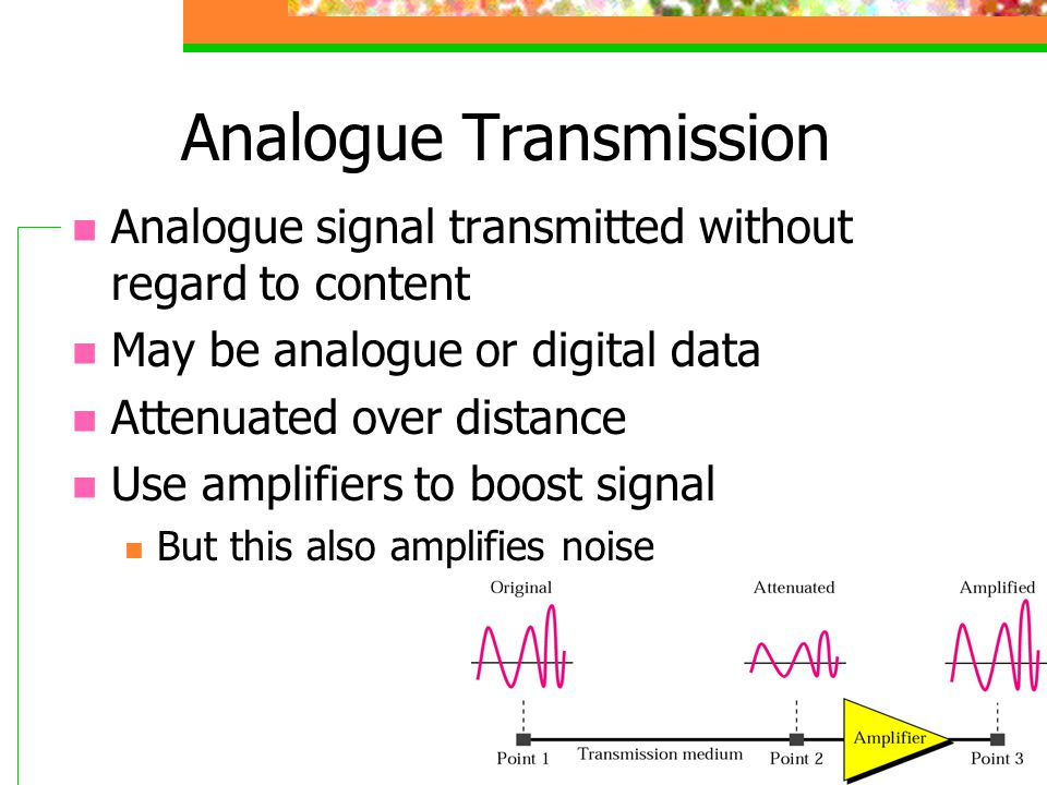 36 Analogue Transmission Analogue signal transmitted without regard to content May be analogue or digital data Attenuated over distance Use amplifiers