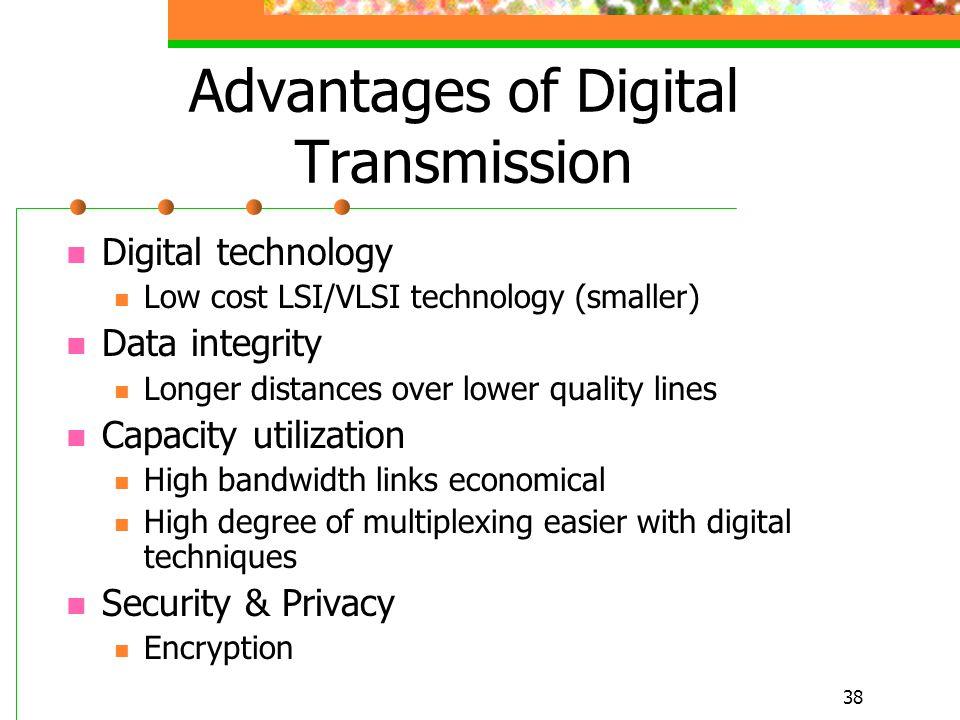 38 Advantages of Digital Transmission Digital technology Low cost LSI/VLSI technology (smaller) Data integrity Longer distances over lower quality lin