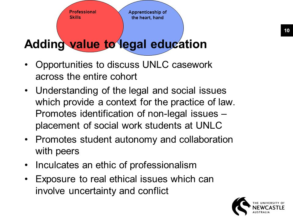 Apprenticeship of the heart, hand Professional Skills Adding value to legal education Opportunities to discuss UNLC casework across the entire cohort Understanding of the legal and social issues which provide a context for the practice of law.
