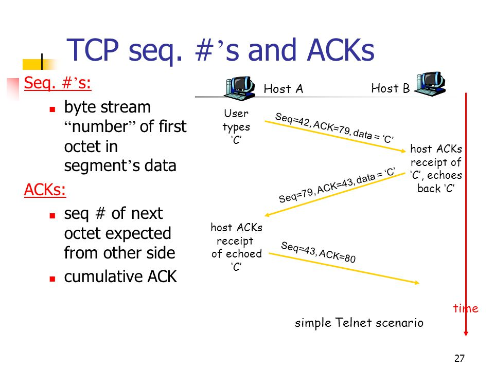 """27 TCP seq. # ' s and ACKs Seq. # ' s: byte stream """" number """" of first octet in segment ' s data ACKs: seq # of next octet expected from other side cu"""