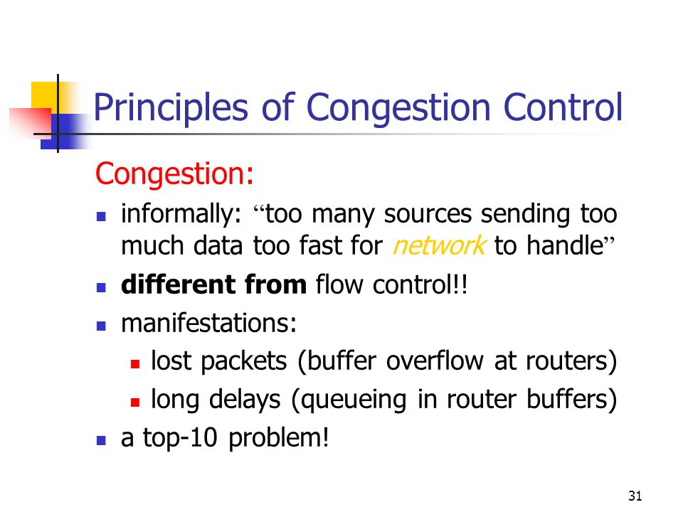 """31 Principles of Congestion Control Congestion: informally: """" too many sources sending too much data too fast for network to handle """" different from f"""