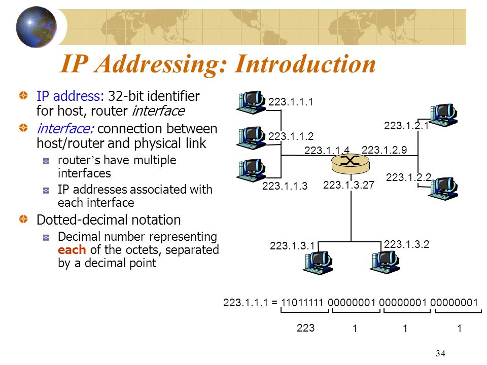 34 IP Addressing: Introduction IP address: 32-bit identifier for host, router interface interface: connection between host/router and physical link ro