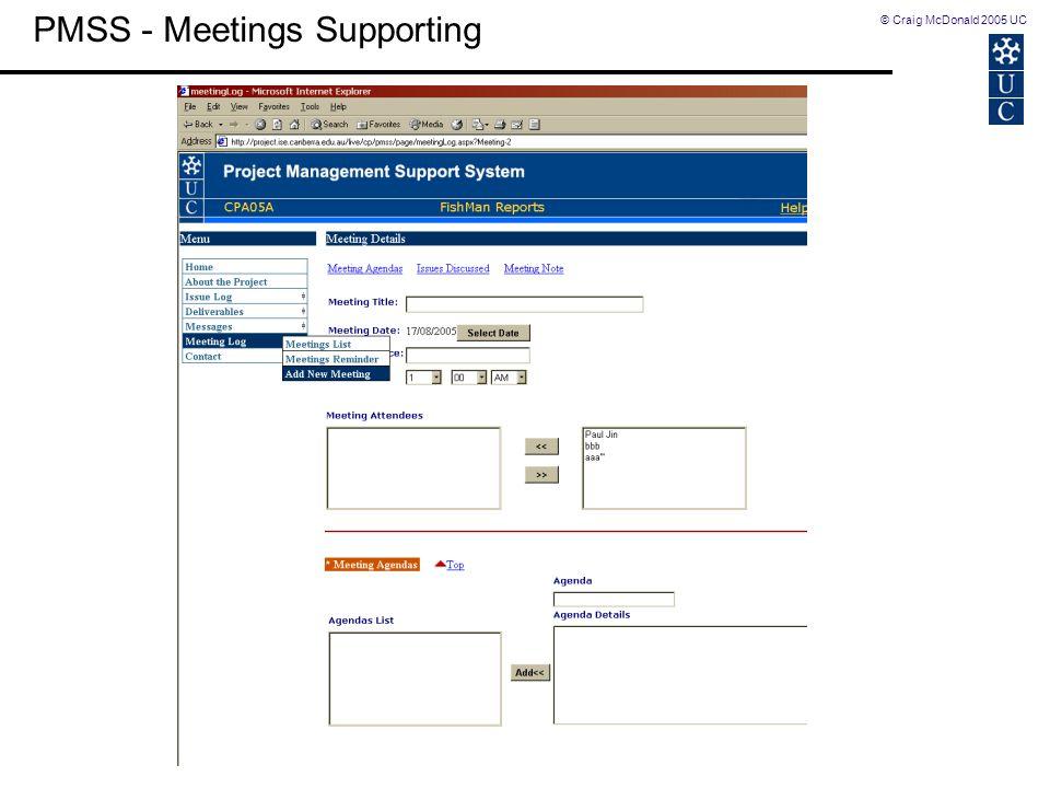 © Craig McDonald 2005 UC PMSS - Meetings Supporting