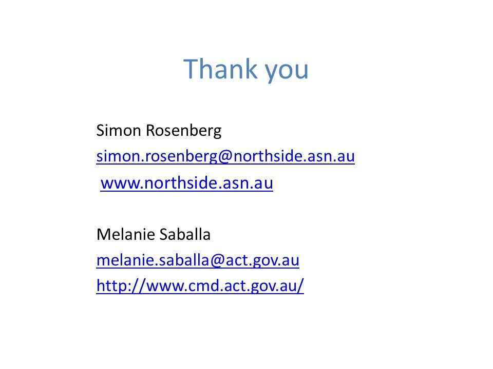 Thank you Simon Rosenberg simon.rosenberg@northside.asn.au www.northside.asn.au Melanie Saballa melanie.saballa@act.gov.au http://www.cmd.act.gov.au/