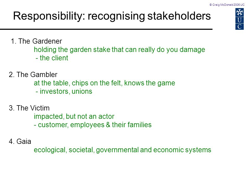 © Craig McDonald 2005 UC 1. The Gardener holding the garden stake that can really do you damage - the client 2. The Gambler at the table, chips on the