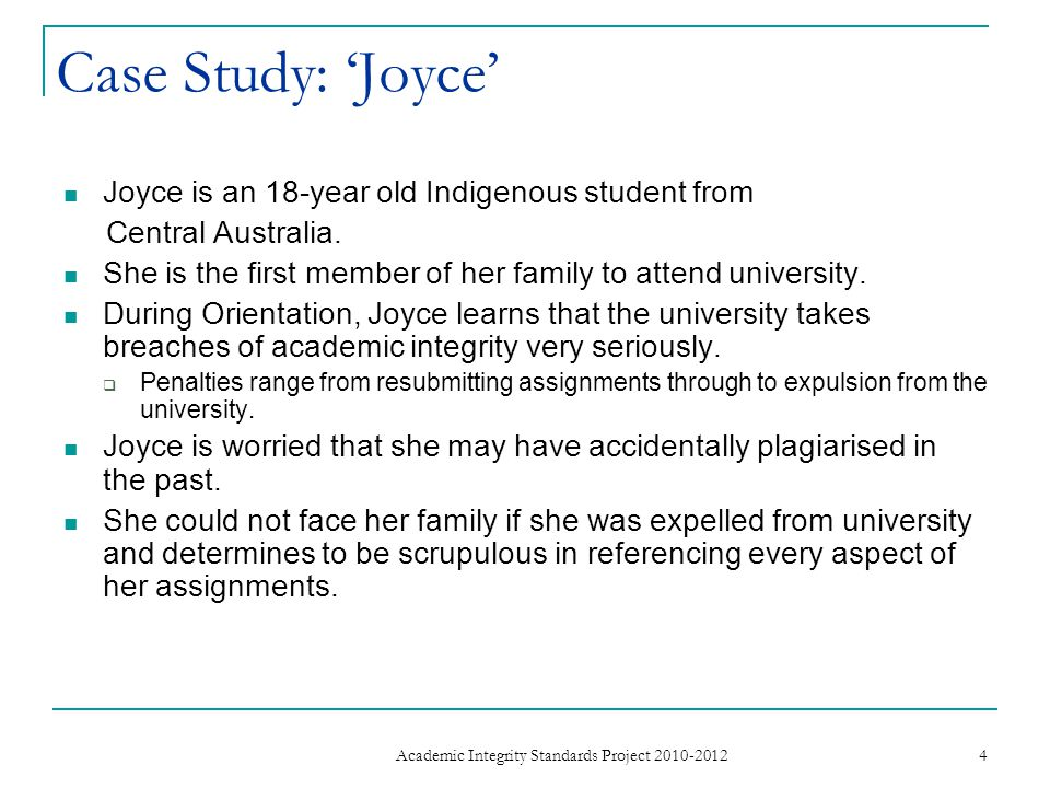 Case Study: 'Joyce' Joyce is an 18-year old Indigenous student from Central Australia.