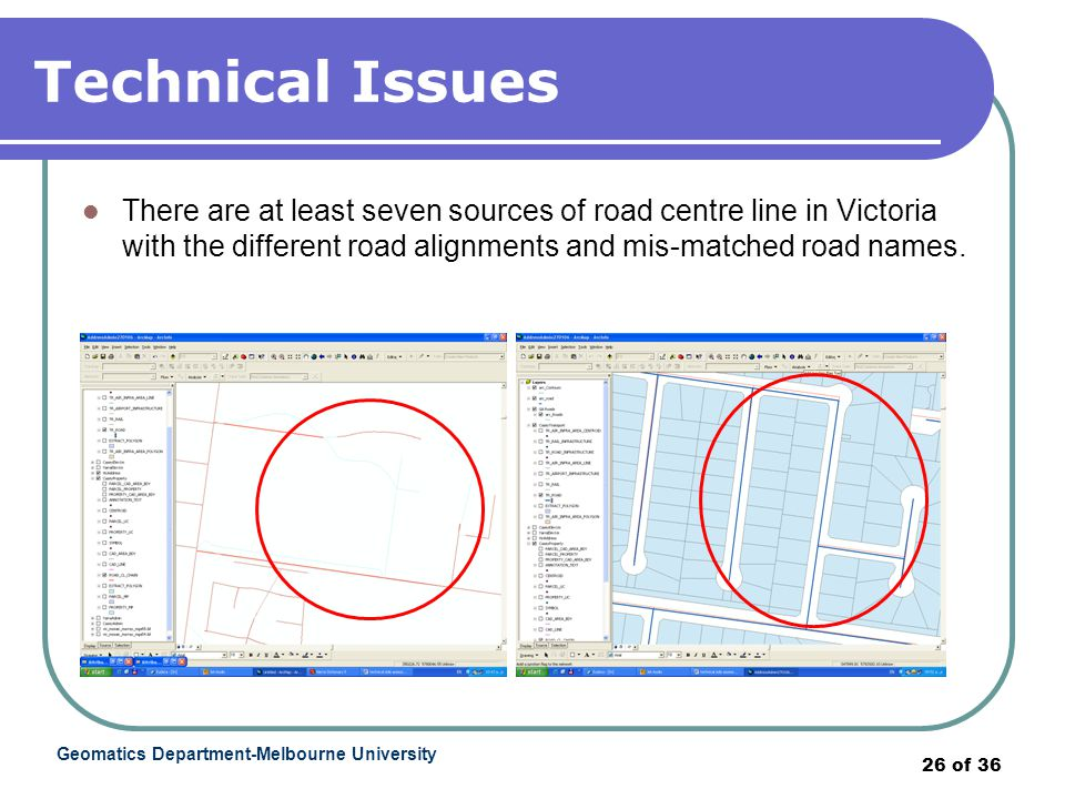 Geomatics Department-Melbourne University 26 of 36 Technical Issues There are at least seven sources of road centre line in Victoria with the different road alignments and mis-matched road names.