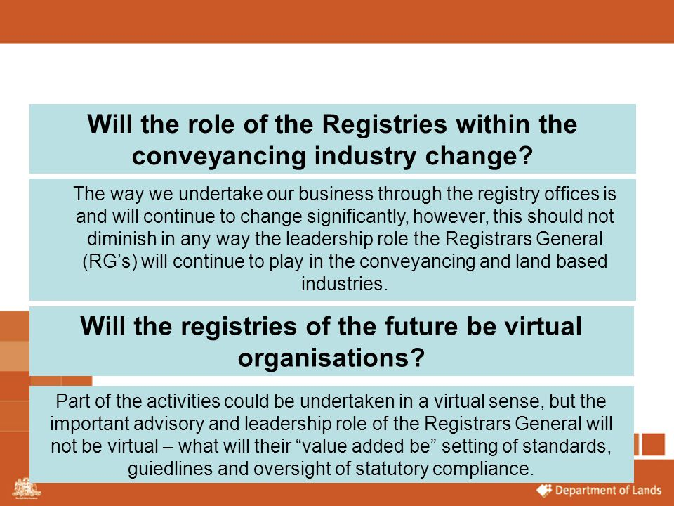 Will the role of the Registries within the conveyancing industry change? The way we undertake our business through the registry offices is and will co