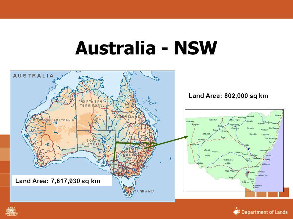 Australia - NSW Land Area: 7,617,930 sq km Land Area: 802,000 sq km