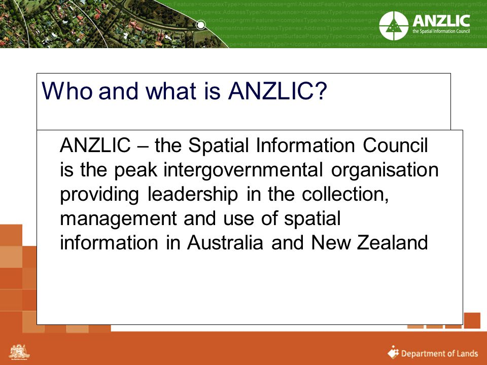 Who and what is ANZLIC? ANZLIC – the Spatial Information Council is the peak intergovernmental organisation providing leadership in the collection, ma
