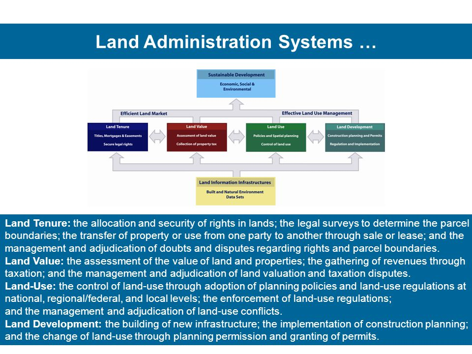 Land Administration Systems … Land Tenure: the allocation and security of rights in lands; the legal surveys to determine the parcel boundaries; the transfer of property or use from one party to another through sale or lease; and the management and adjudication of doubts and disputes regarding rights and parcel boundaries.