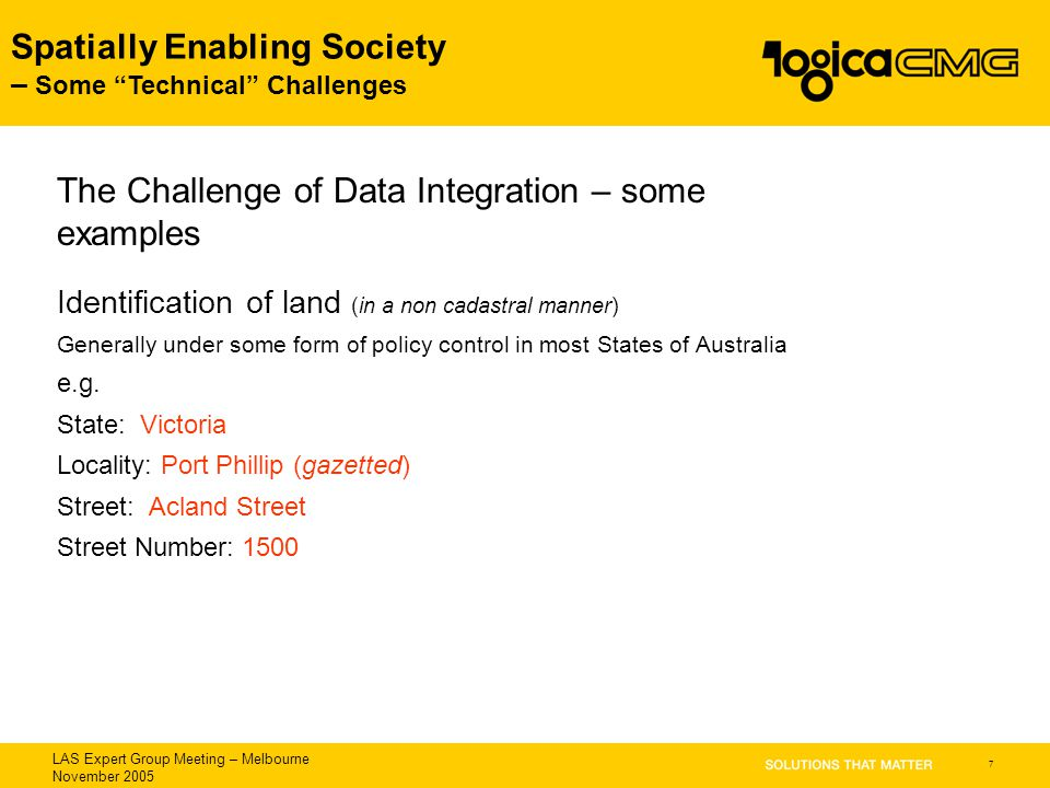 "LAS Expert Group Meeting – Melbourne November 2005 Spatially Enabling Society – Some ""Technical"" Challenges 7 Identification of land (in a non cadastr"