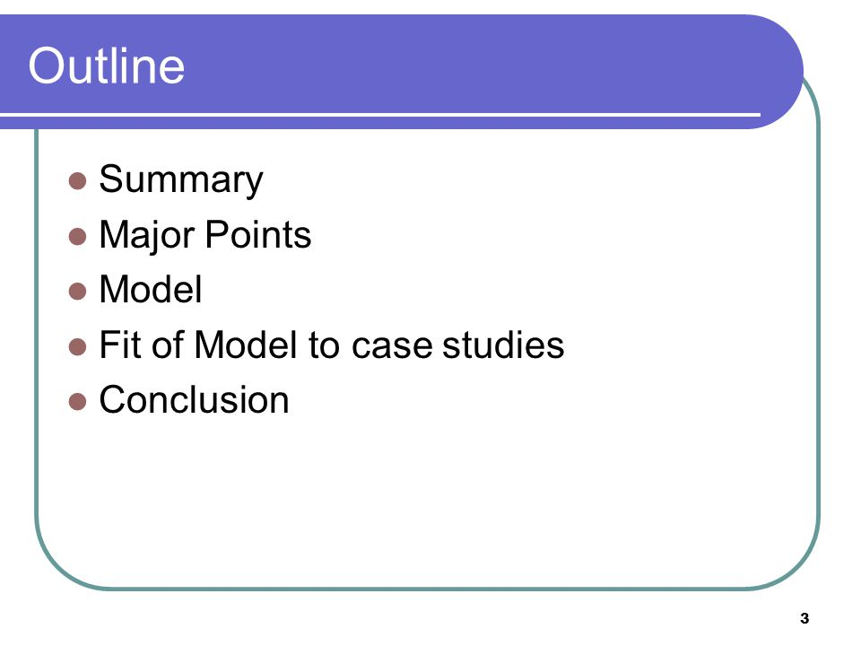 3 Outline Summary Major Points Model Fit of Model to case studies Conclusion