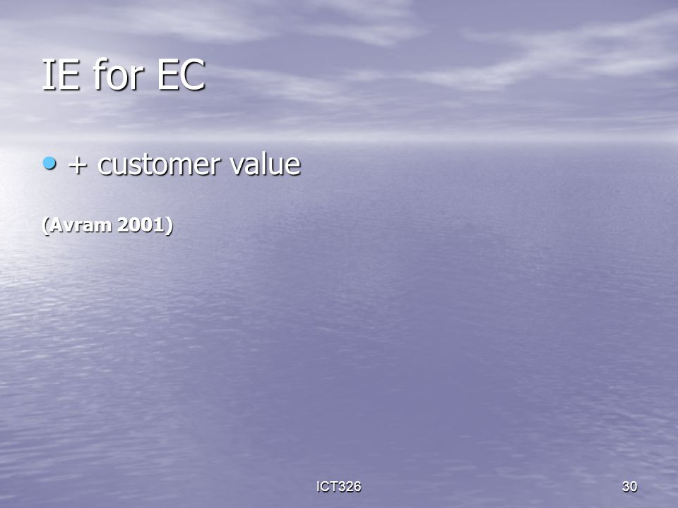 ICT32630 IE for EC + customer value + customer value (Avram 2001)