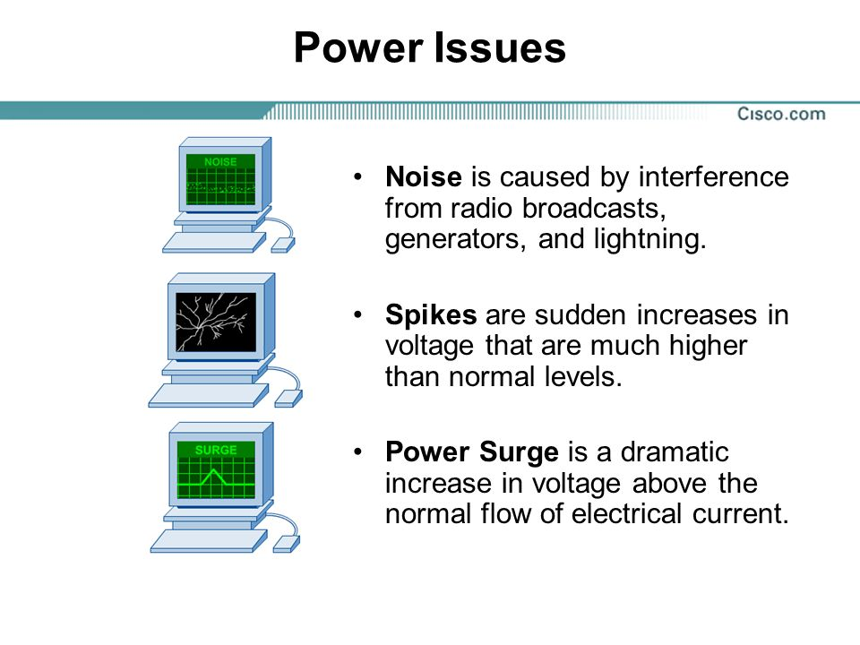 Power Issues Noise is caused by interference from radio broadcasts, generators, and lightning. Spikes are sudden increases in voltage that are much hi
