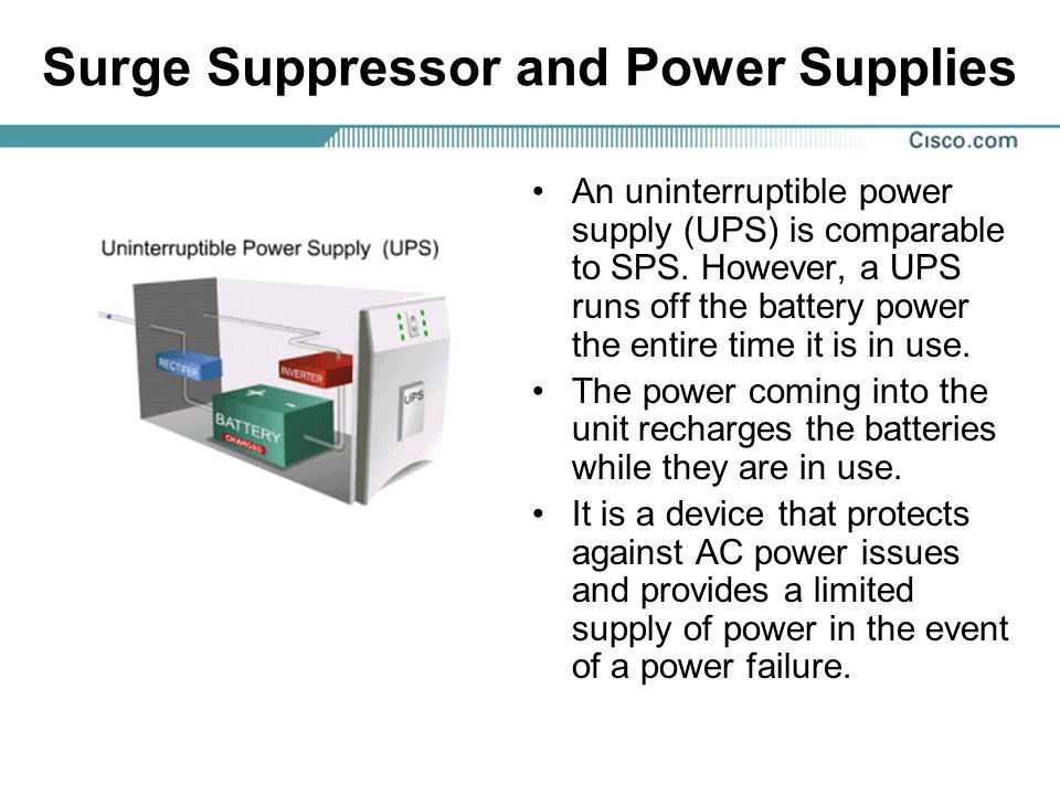 Surge Suppressor and Power Supplies An uninterruptible power supply (UPS) is comparable to SPS. However, a UPS runs off the battery power the entire t