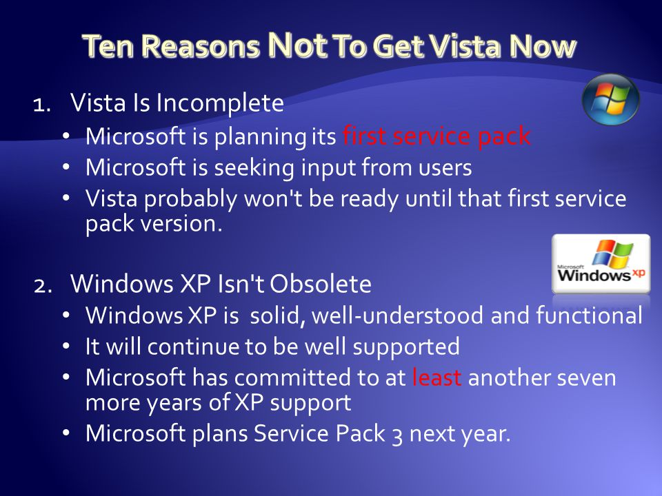 1.Vista Is Incomplete Microsoft is planning its first service pack Microsoft is seeking input from users Vista probably won t be ready until that first service pack version.