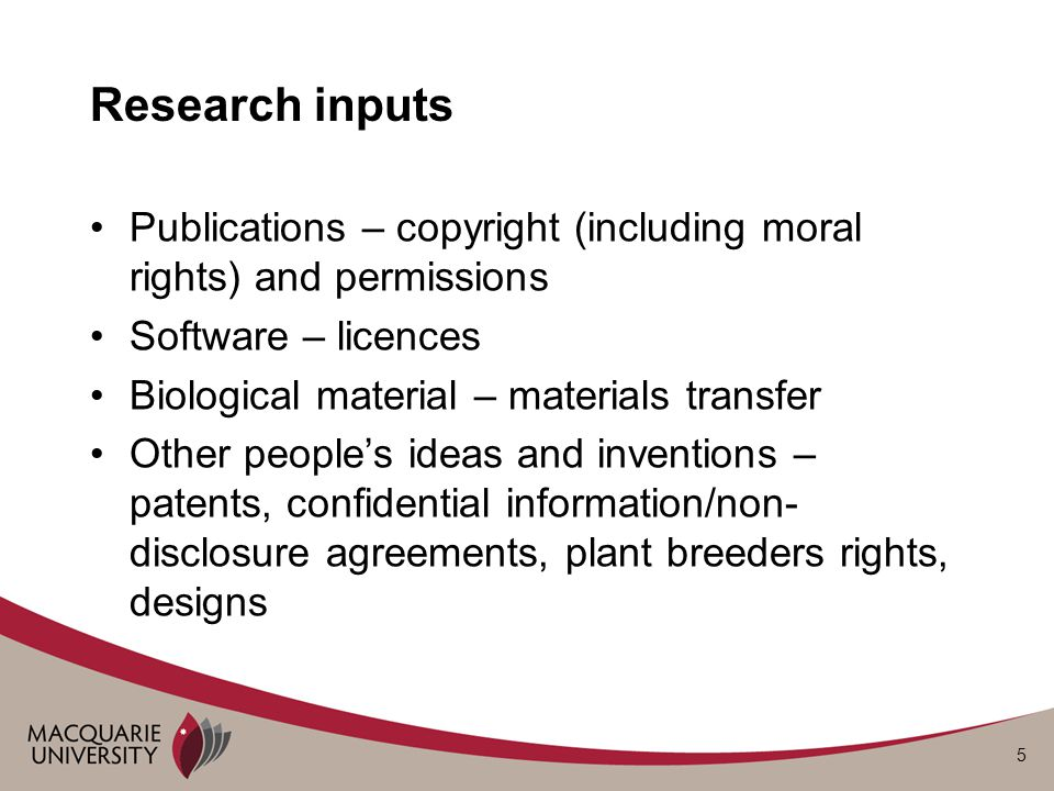 6 Research outputs – publications (1) Copyright – rests with the author(s), MQ does not claim (c) in scholarly works except –Specific commissions –MQ assists with publication or is the publisher –Where there is background IP belonging to MQ MQ retains rights in the background IP Scholarly works include books, articles, musical compositions, creative works Journals often ask authors to assign copyright in articles - research contracts should retain copyright in academic articles