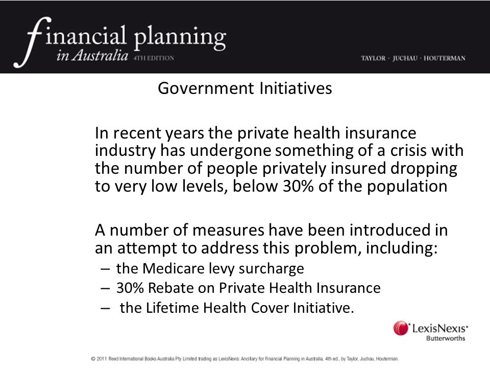 Government Initiatives In recent years the private health insurance industry has undergone something of a crisis with the number of people privately insured dropping to very low levels, below 30% of the population A number of measures have been introduced in an attempt to address this problem, including: – the Medicare levy surcharge – 30% Rebate on Private Health Insurance – the Lifetime Health Cover Initiative.