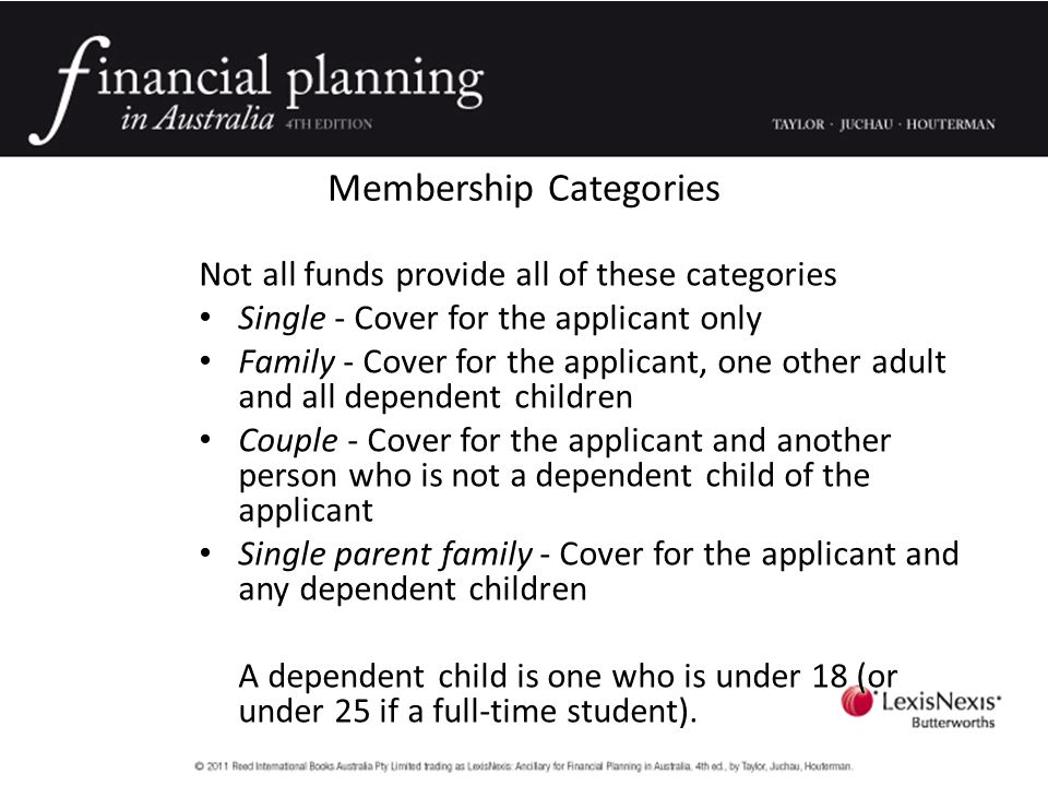 Membership Categories Not all funds provide all of these categories Single - Cover for the applicant only Family - Cover for the applicant, one other adult and all dependent children Couple - Cover for the applicant and another person who is not a dependent child of the applicant Single parent family - Cover for the applicant and any dependent children A dependent child is one who is under 18 (or under 25 if a full-time student).