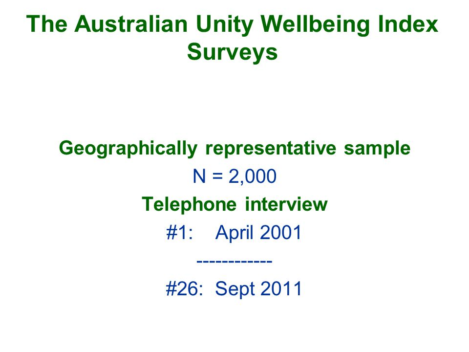 The Australian Unity Wellbeing Index Surveys Geographically representative sample N = 2,000 Telephone interview #1:April #26:Sept 2011
