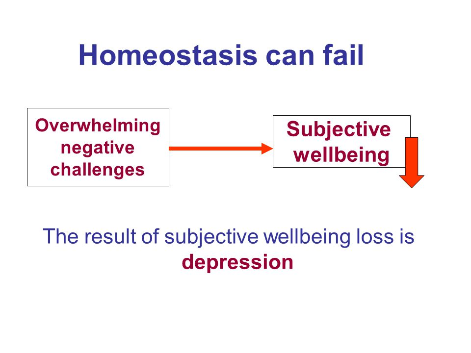 Homeostasis can fail Overwhelming negative challenges Subjective wellbeing The result of subjective wellbeing loss is depression