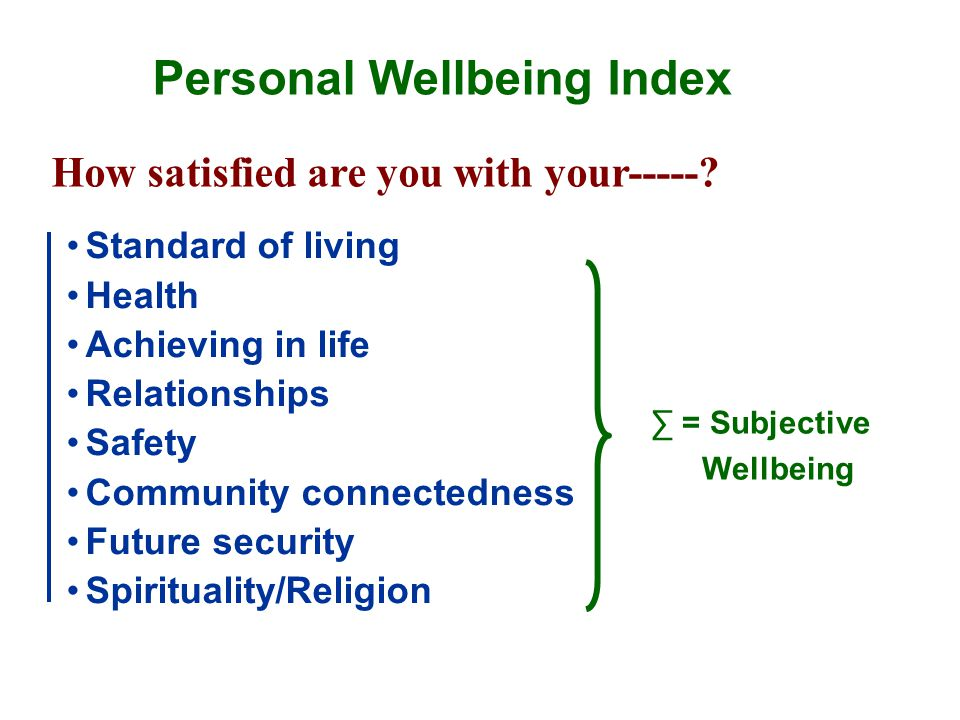 Personal Wellbeing Index Standard of living Health Achieving in life Relationships Safety Community connectedness Future security Spirituality/Religion How satisfied are you with your-----.