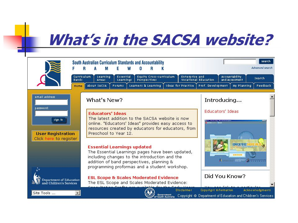 What's in the SACSA website?