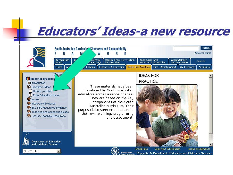 Educators' Ideas-a new resource